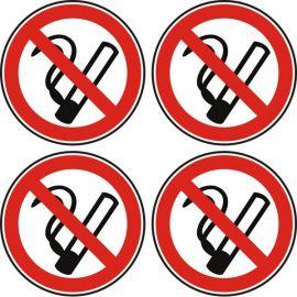 Забранено пушенето, 4 знака, стикер 12x12